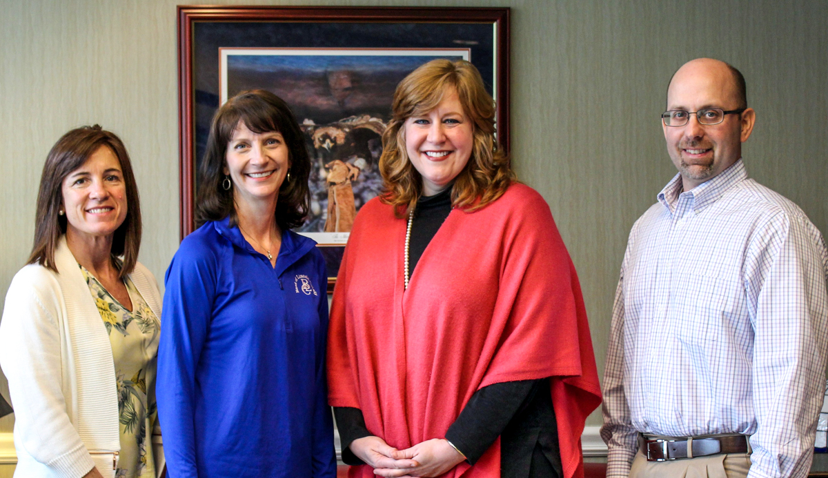 The 27th annual Charles Gleghorn Golf Tournament is scheduled for May 11 at the Pebble Creek Golf Club in Fayetteville. The event is sponsored by the Bank of Lincoln County, with proceeds to benefit the Motlow College Foundation student scholarship program. Pictured above, from left, are event organizers Jill Storey, administrative assistant for Bank of Lincoln County; Gay Dempsey, chief executive officer for Bank of Lincoln County; Lane Yoder, executive director of the Motlow College Foundation; and Mark Howell, loan officer for Bank of Lincoln County.
