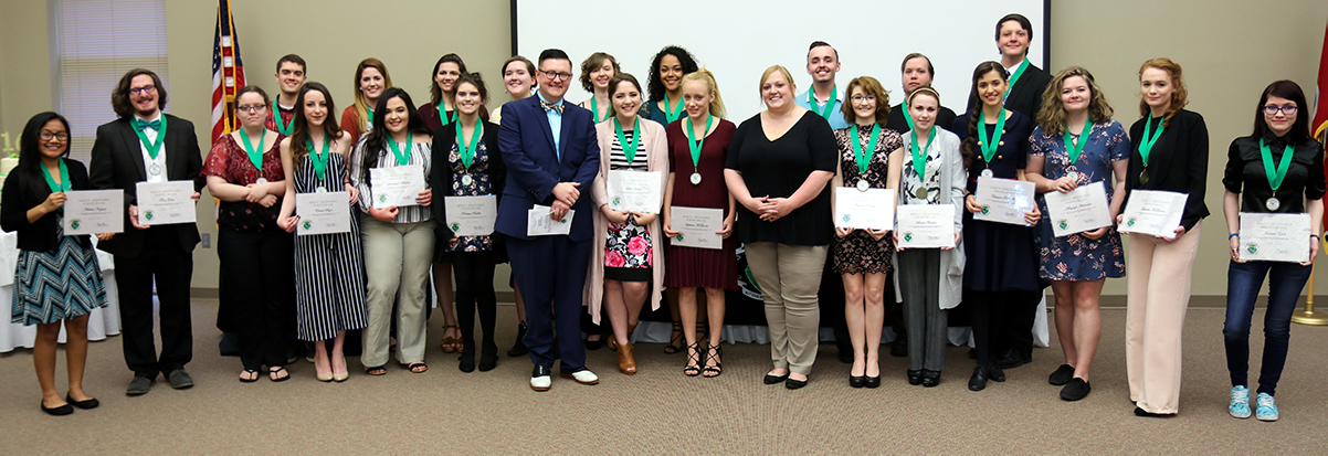 Members of the Motlow State Community College honors program recently participated in the year-end Honors Symposium held on the Moore County campus.Honors students from all four Motlow State campuses participated in the annual event that highlights the work of honors students from the 2017-2018 academic year.Above are honors graduates,front row from left, Adelina Vazquez, Ross Gates, Serenity Price, Emma Sagor, Savannah Whitaker, Rebecca Padilla, Former Director Scott Cook, Lilly Hosler, Sybrina McGinnis, Director Meagan McManus, Amanda Carson, Marissa Farabee, Crimson Rose Sugg, Abbigayle Anderson, Latisha McGinnis, Jasmine Yost; back row from left, Kyle Davis, Candice Gwin, Ava Anderson, Lisa Hardie, Erin Dodd, Hannah Dodson, Brett Hill, Matthew Van Winkle, Kaleb Askren.