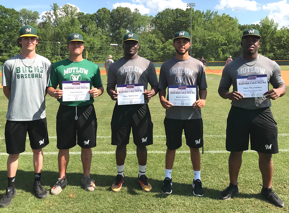 Motlow's 2018 baseball season ended Wednesday with a 10-2 loss to Cleveland State in the TCCAA/Region VII Tournament. The Bucks finished the season with a 38-18 record and featured five All-TCCAA players. From left: Logan Walters, Colin Smith, Paul McIntosh, Kobe Foster and Troy Weatherly.