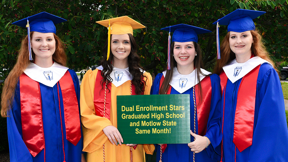 """Pictured above at the Warren County High School graduation, from left, Lila Loftis, Courtney Curtis, Molly Hale, and Rebecca """"Bec"""" Loftis."""