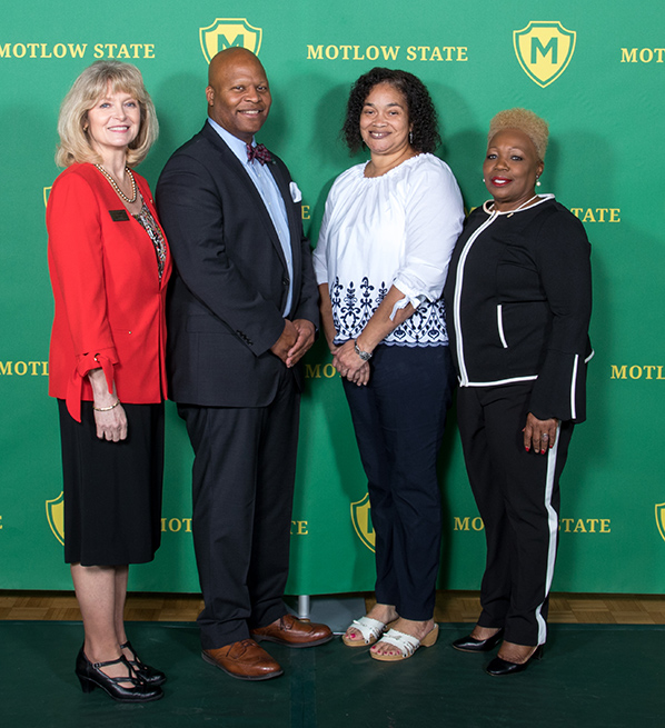 Pictured from left, are Hilda Tunstill, Dr. Michael Torrence, Motlow president; Annette Mosley, and Brenda Cannon.