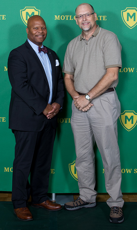 Pictured from left, are Dr. Michael Torrence, Motlow president; and 35-year employee, Steve Smotherman.