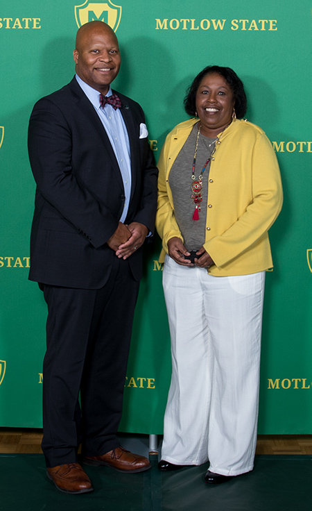Pictured from left, are Dr. Michael Torrence, Motlow president; and 40-year employee, Carolyn Wells.