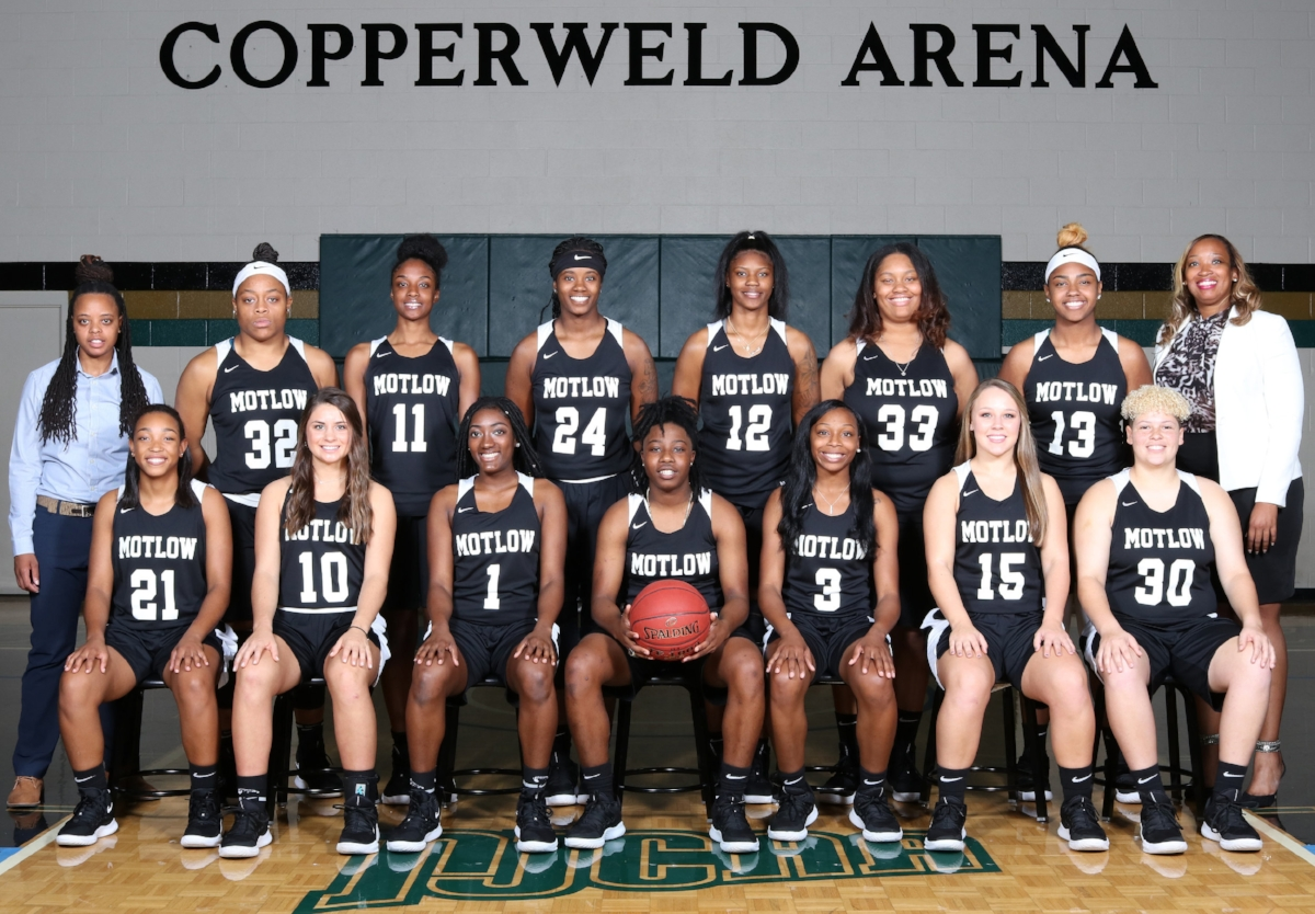 The Motlow State Community College Lady Bucks will open the 2018-19 basketball regular season when they face East Georgia Nov. 1 in Marianna, Fla. Seated from left: Promyse Bryson, Taylor Holcomb, Kayla Jackson, Dominique Fields, Tanisia Murphy, Kaitlyn Thomas and Shayla McAdoo. Standing from left: Shenika Dow, assistant coach; Janna Lewis, Racquel Robinson, Starasia Bell-Freeman, Aquria McIntyre, Thandiwie Sims, Azhane Bacot, and LaTanya Collins, head coach.