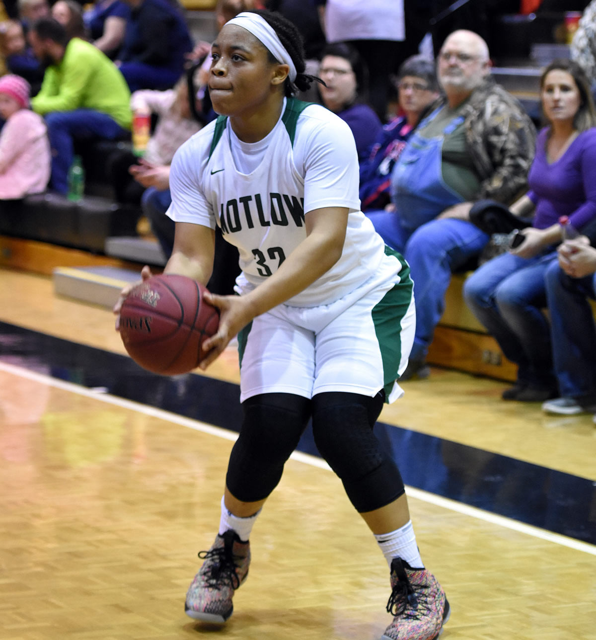 Motlow State sophomore Janna Lewis squares herself and prepares to launch a shot during the Lady Bucks' 87-79 win over Roane State Friday night at Copperweld Arena. Lewis, from Louisville, combined for 65 points and 20 rebounds in Motlow's weekend victories. She leads the TCCAA conference in both scoring and rebounding. Photo by Jeff Reed Photography.