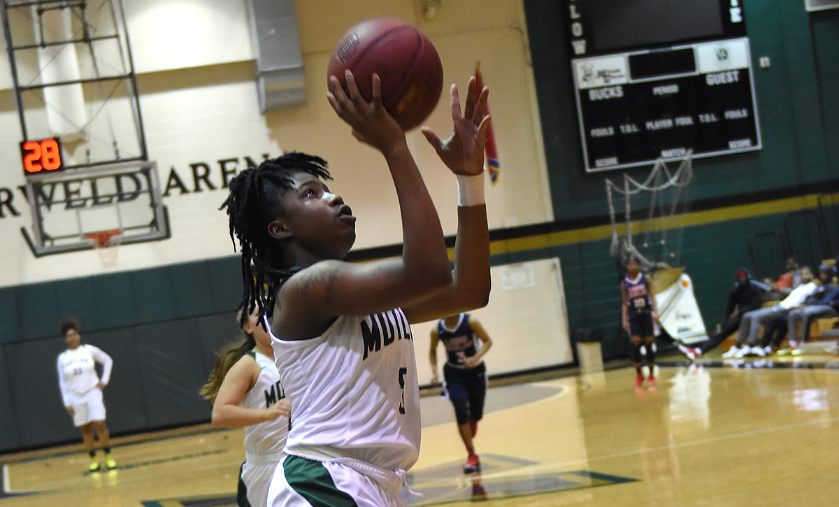 Motlow State freshman Dominique Fields recorded a rare triple-double during the Lady Bucks' 106-84 win over Dyersburg State Wednesday night. Fields, from Ft. Lauderdale, scored 17 points, dished out 14 assists and hauled down 10 rebounds during the win. Motlow will close the regular season Wednesday at Jackson State. Photo by Jeff Reed Photography.