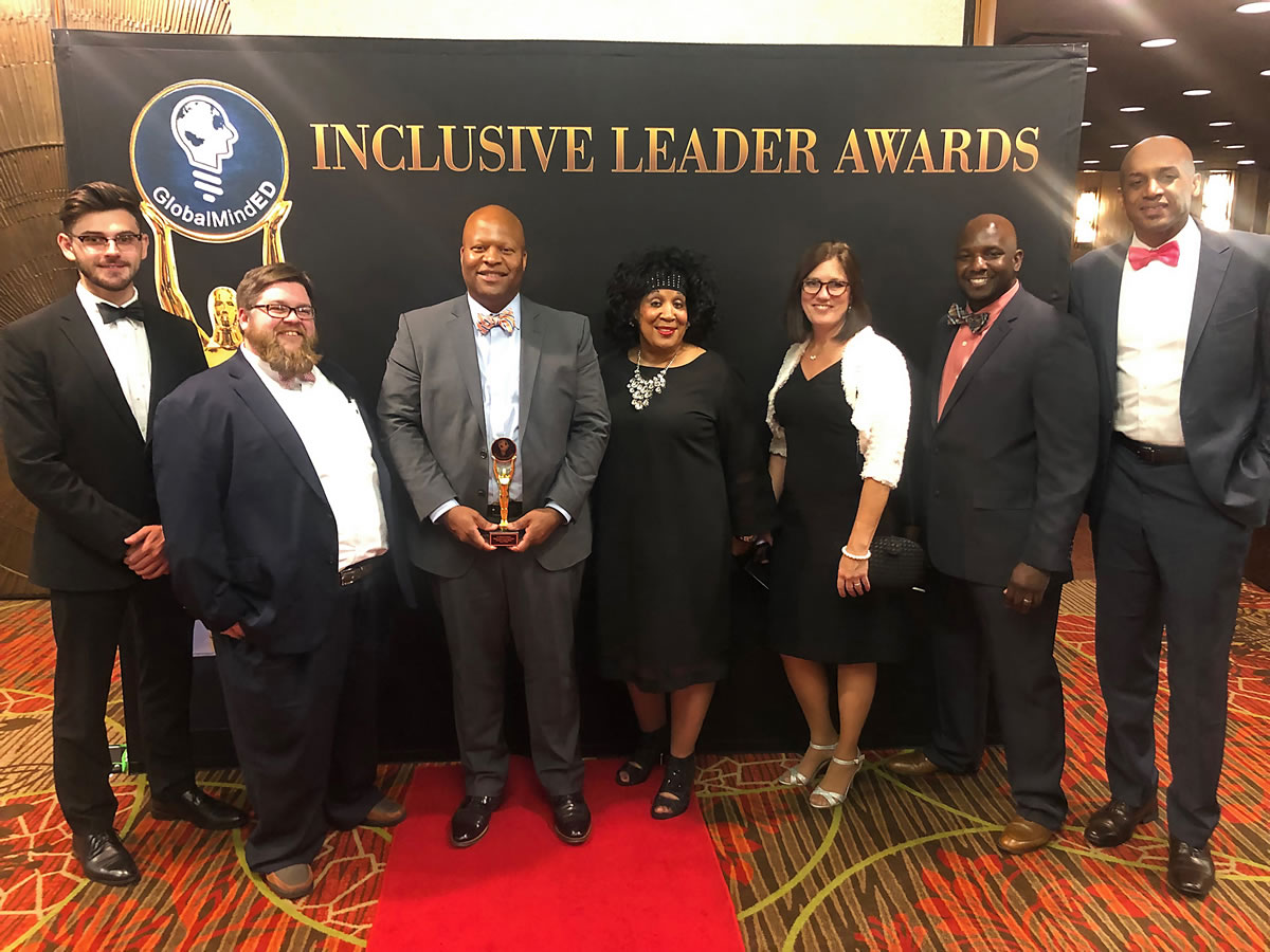 Motlow President Dr. Michael Torrence was presented with the GlobalMindED Inclusive Excellence Leaders Award in the 2 Year and Post Graduate Higher Education category at the GlobalMindED Inclusive Leader Awards dinner in Denver. Pictured, l-r: Michael Celiberti, Motlow graduate; Robin Keel, human resources analyst; Dr. Torrence; Dr. Phyllis Adams, communications professor; Kirsten Moss, dean of students; Dr. Milton Nettles, Motlow adjunct faculty member; and Dr. Mika'il Petin, assistant vice president for student success. Motlow Staff Photo.