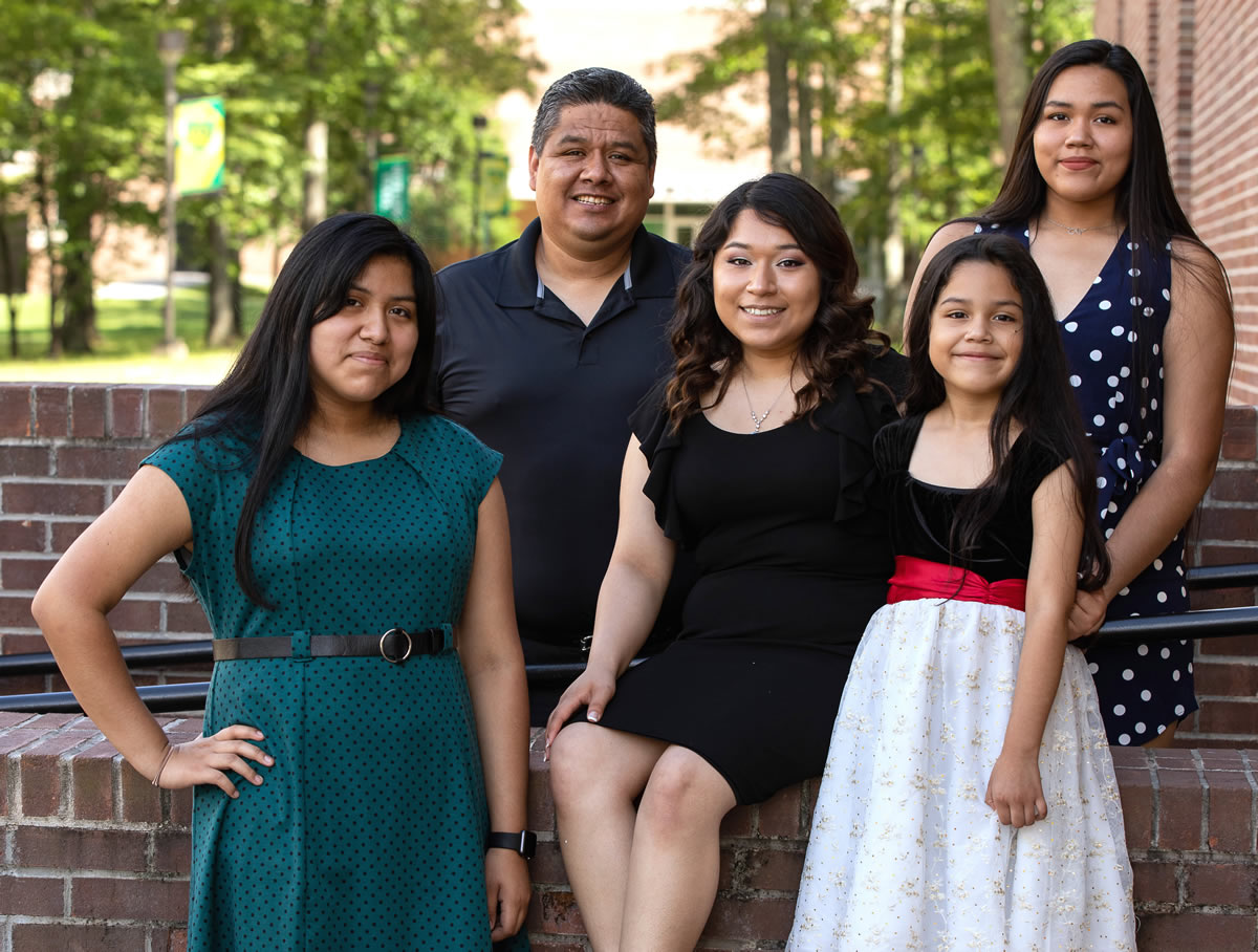 Motlow State graduate Carina Vazquez Nunez, center, has been a high-achieving student leader during her two years at Motlow, and will now continue her education studying physics in the Honors College at MTSU. Joining Carina, center, is her family, from left: Sandra Vazquez, Javier Vazquez, Maria Vazquez, and Olga Vazquez. Motlow Staff Photo.
