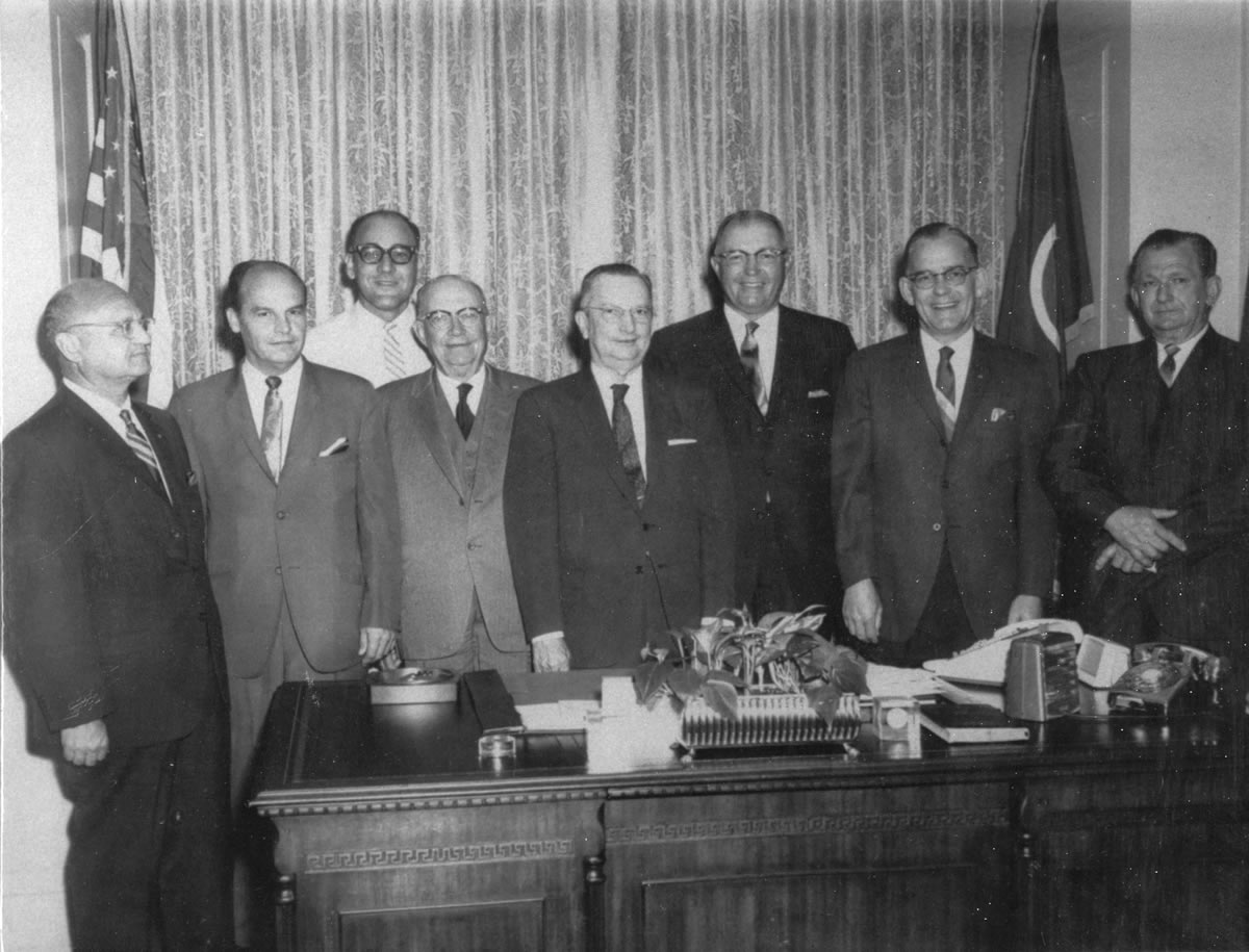 Area citizens were committed to turning the dream of Motlow State Community College into reality in the mid-1960s. Visiting with the Governor are, l-r: Morris Simon, Pat Lynch, Nelson Forrester, Reagor Motlow, Education Commissioner Howard Warf, Governor Buford Ellington, Senator Ernest Crouch, and Tullahoma Vice Mayor O.B. Carroll.