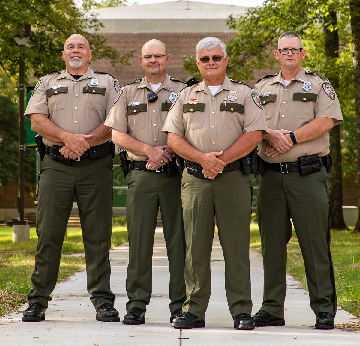 Motlow campus police stand ready to provide a safe and secure environment for all four Motlow State campuses. L-r are Joe Brown, McMinnville campus; Allen Rhodes, Fayetteville campus; Ray Higginbotham, Moore County campus; and Randy Morris, Jr., Smyrna campus. Motlow Staff Photo.