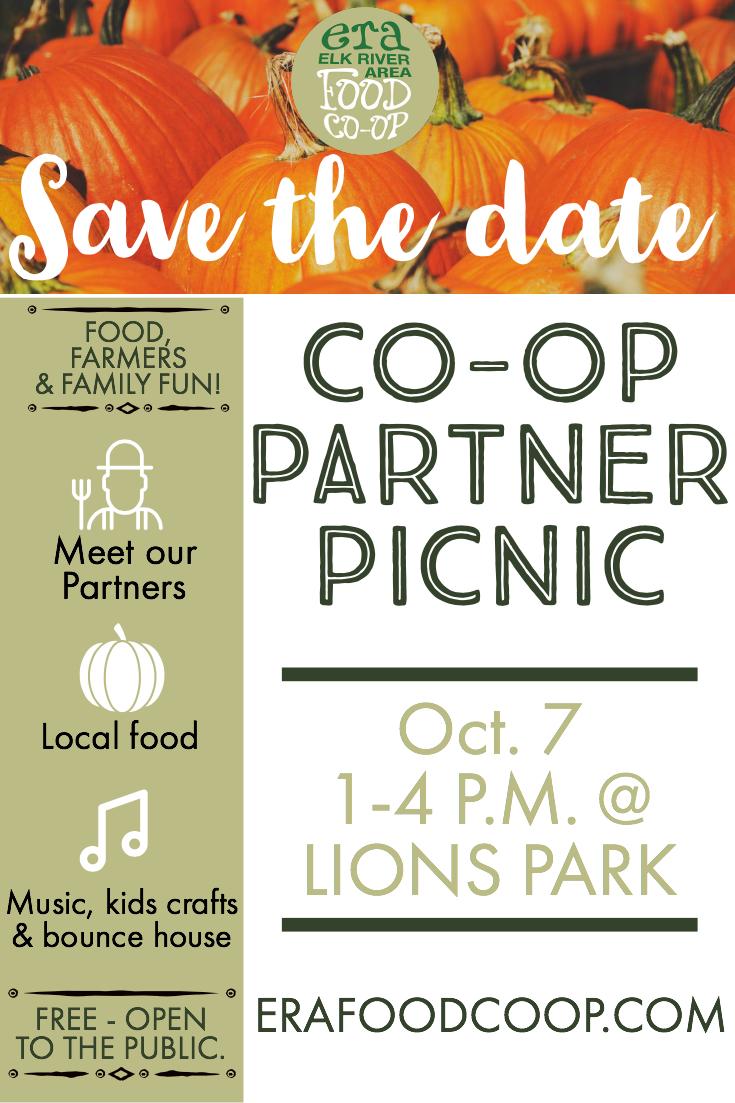 Elk River Area Food Co-op Flyer for Partner Picnic