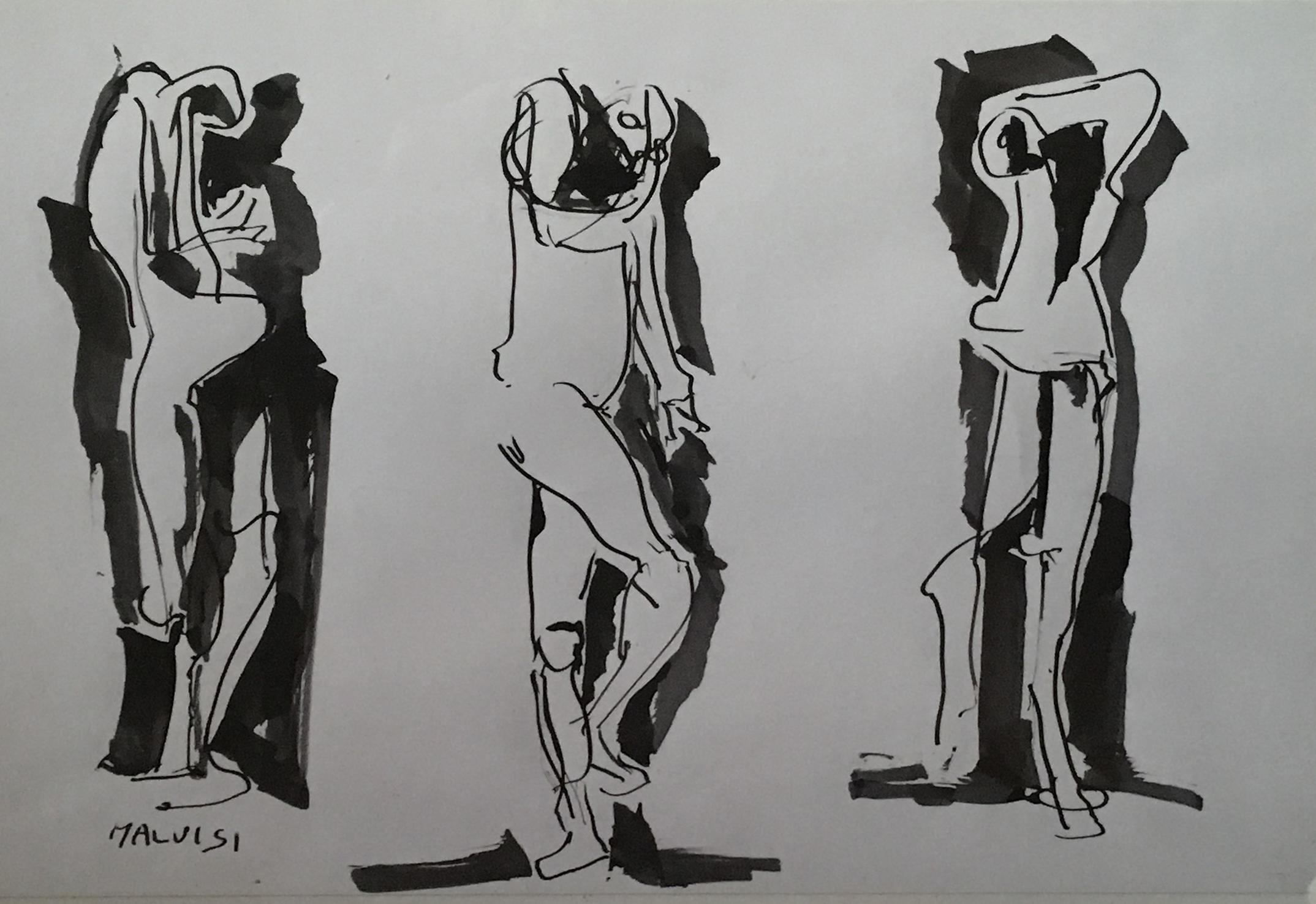 <b>Movements</b><br> (Orig.Movimenti)<br> 1996 Watercolor ink <br> cm 70 x 40