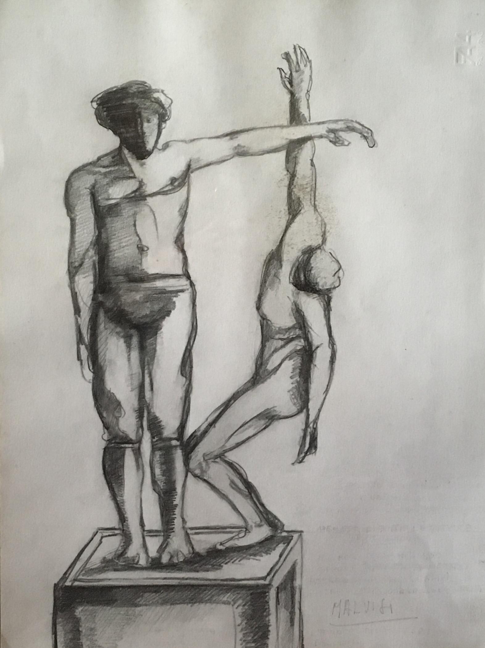 <b>Idea for a monument to the death</b><br> (Orig.Idea per un monumento ai caduti)<br> 1998 Pencil on cardboard <br> cm 34 x 50