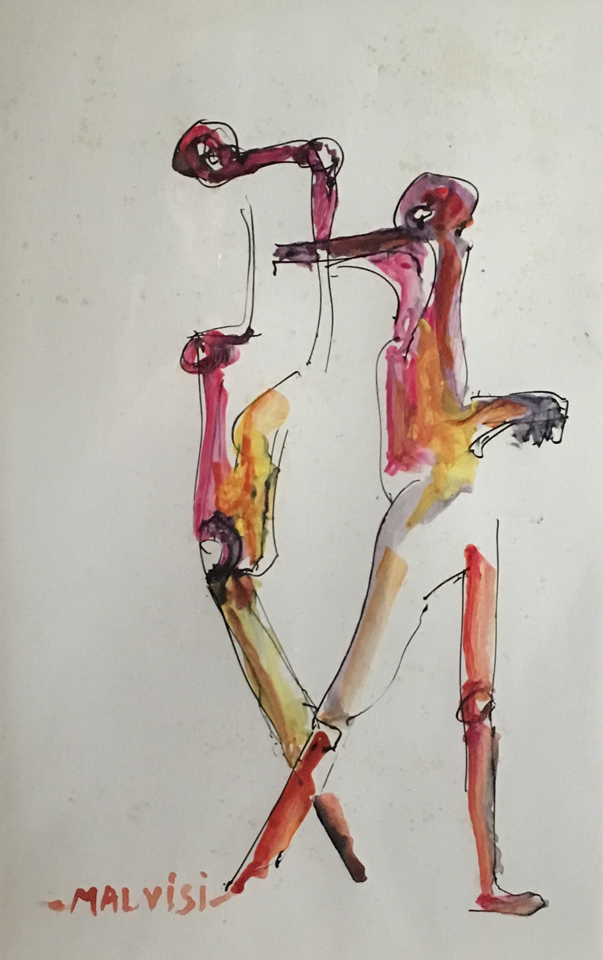 <b>Two figures</b><br>(Orig.Due figure) <br> 2008 Watercolor ink <br> cm 34 x 40