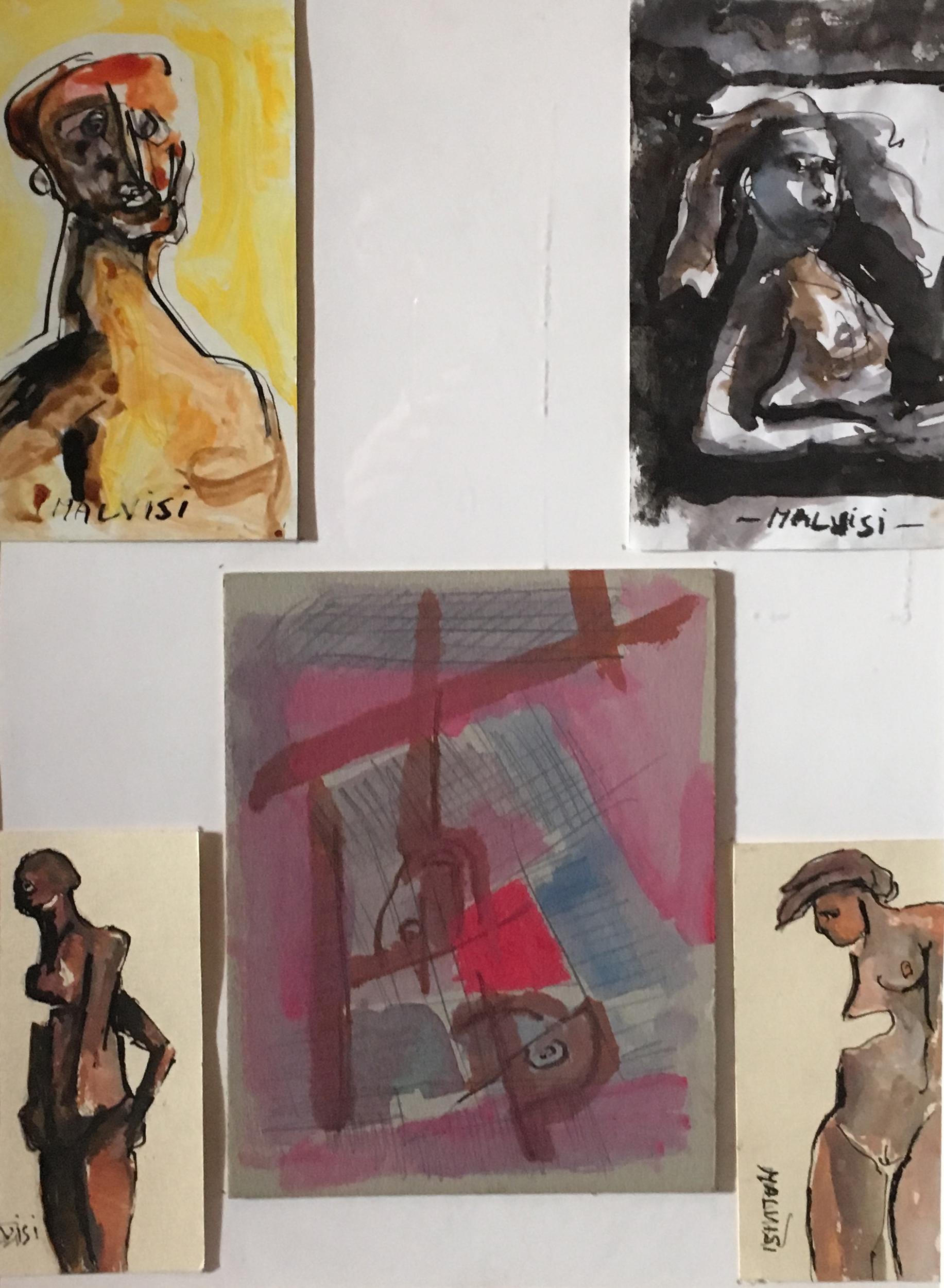 <b>Safe hands</b><br> (Orig.Mani sicure) <br>2006 Indian ink on paper <br> cm 38 x 52