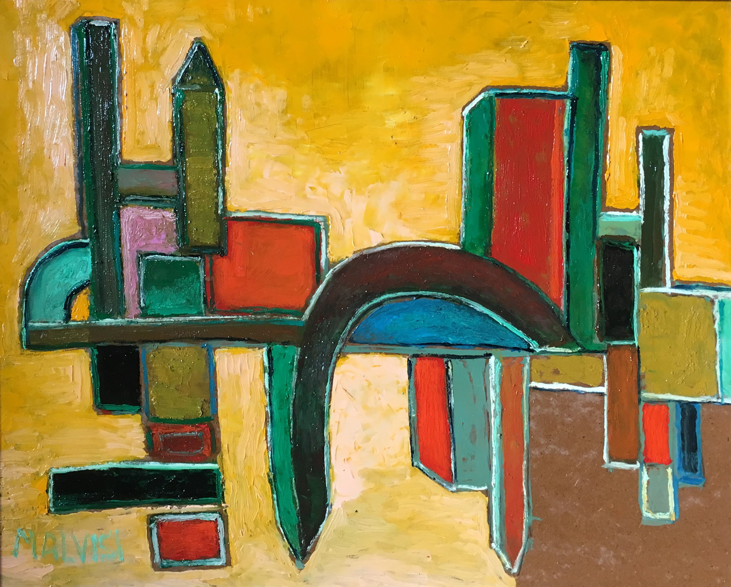 <b>Architectural roots</b><br> (Orig.Radici architettoniche) <br>2016 Oil on wood <br> cm 58 x 68