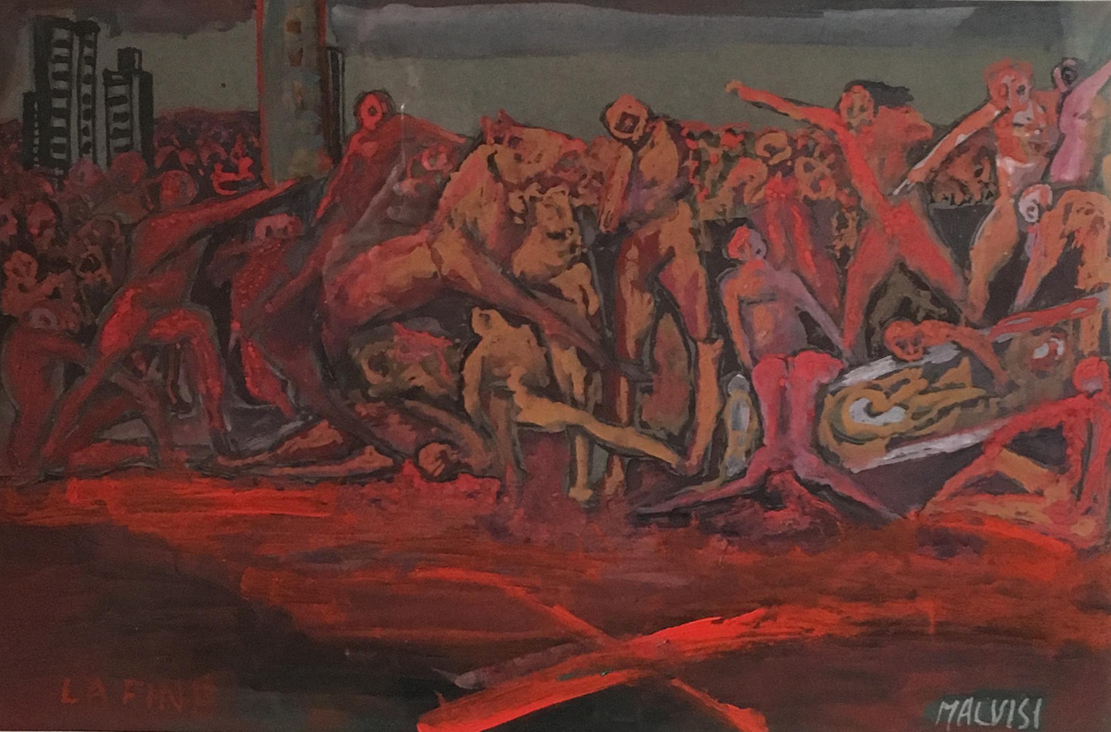 <b>The humanity rising against itself</b><br> (Orig.L'uminatia' in rivolta contro se stessa) <br> 2008 Tempera and acrylic <br> cm 33 x 50