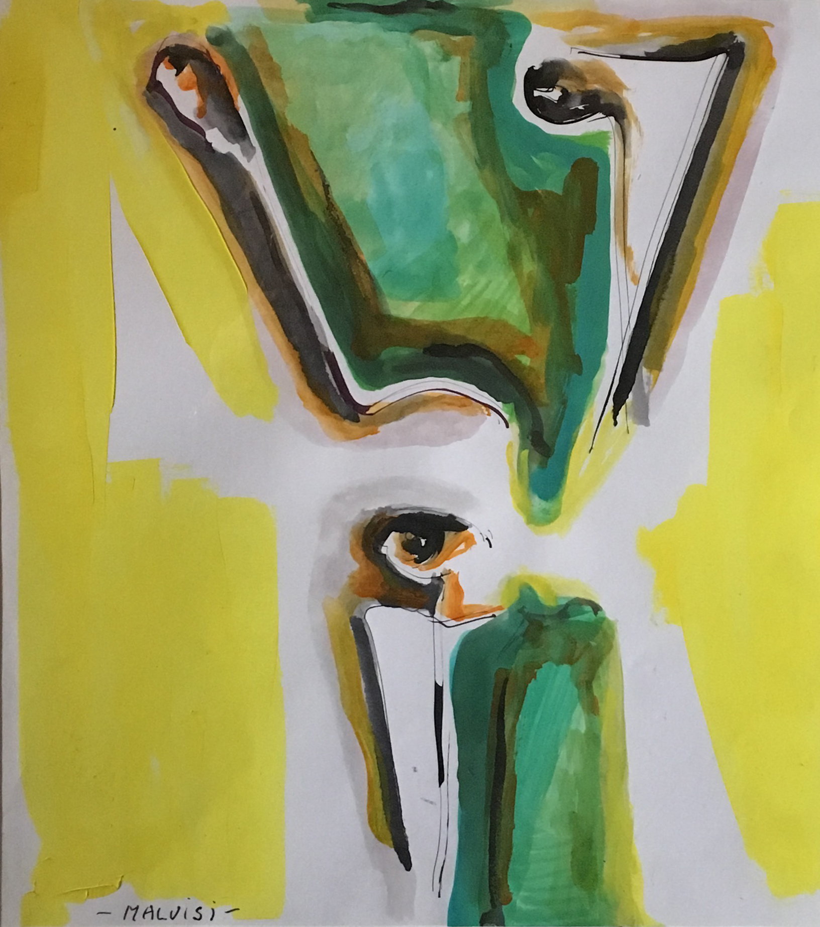 <b>Pupil without fear</b><br> (Orig.Pupilla senza spavento) <br> 1992 Ink and tempera spatula <br> cm 50 x 60
