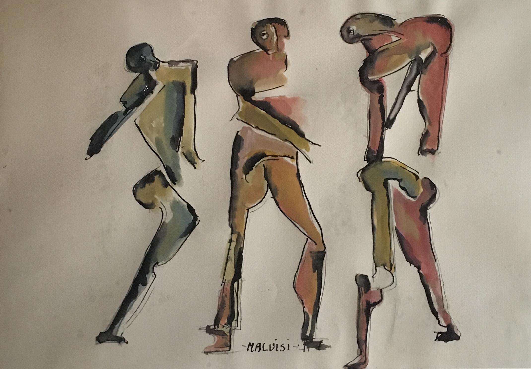 <b>Three figures</b><br> (Orig.Tre figure) <br> 2004 Ink and tempera on cardstock, cm 70 x 47