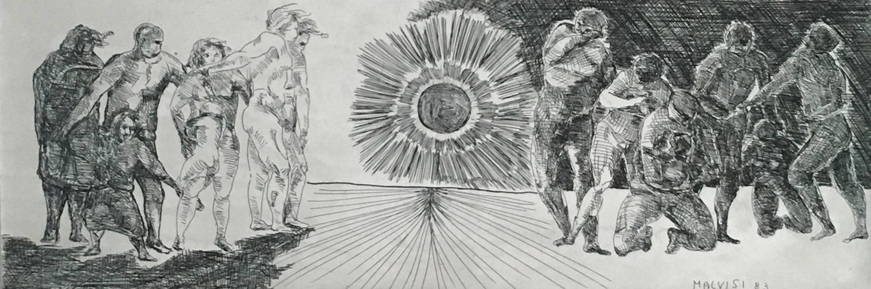 <b>Coveted torment of light</b><br> (Orig.Agognato tormento di luce) <br> 1987 Etching acquatint, cm 29 x 93