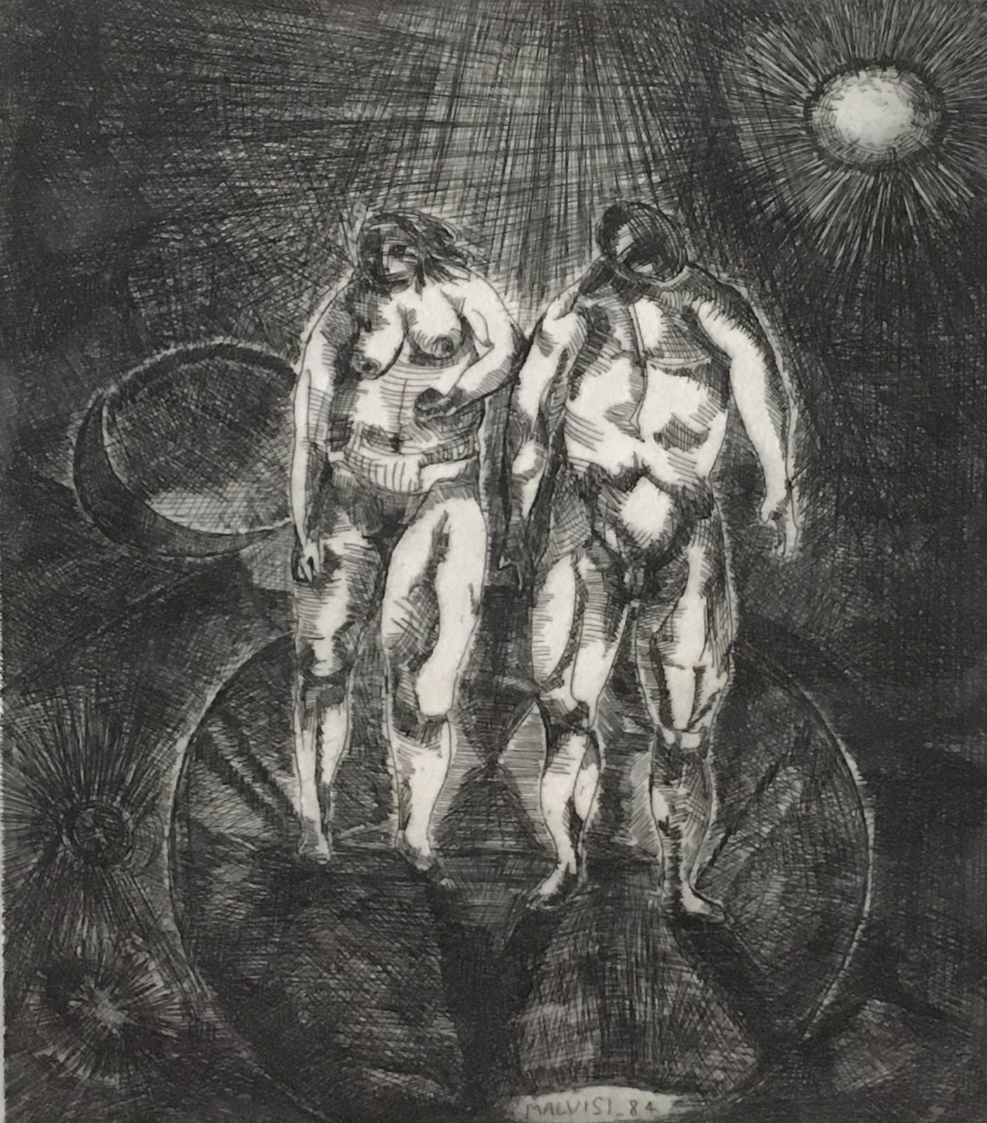 <b>The living space</b><br> (Orig.Lo spazio vivo) <br> 1979 Engraving <br> cm 39 x 52