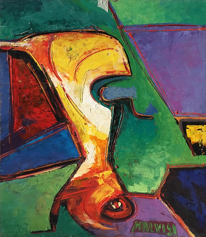 <b>Absolute primordial</b><br> (Orig.Primordiale assoluto) <br> 1998 Oil on wood<br> cm 60 x 80