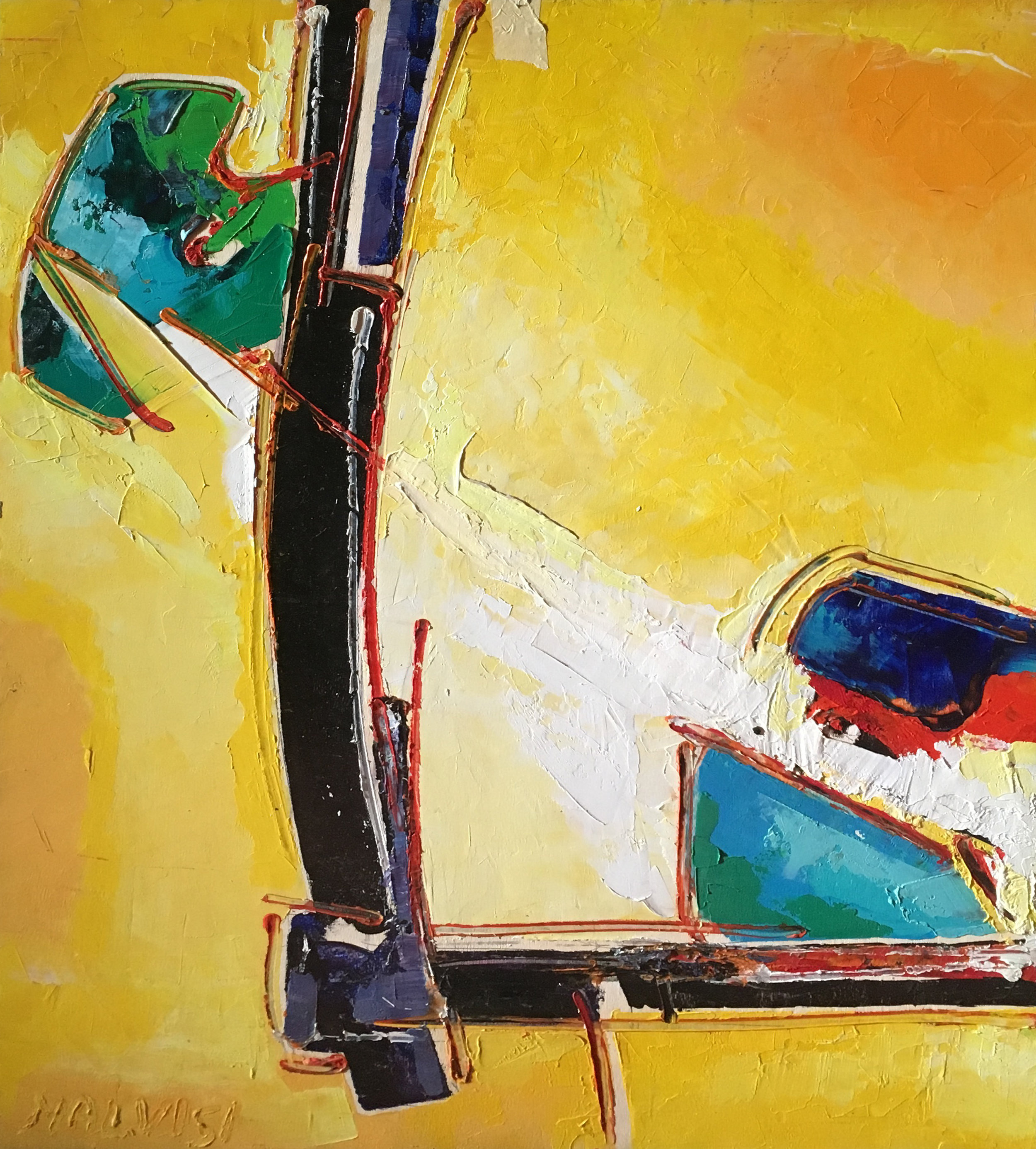 <b>Dominated by the beauty and by the immortable</b><br> (Orig.Dominati dal bello e dall'immutabile) <br> 1999 Oil on wood <br> cm 60 x 80