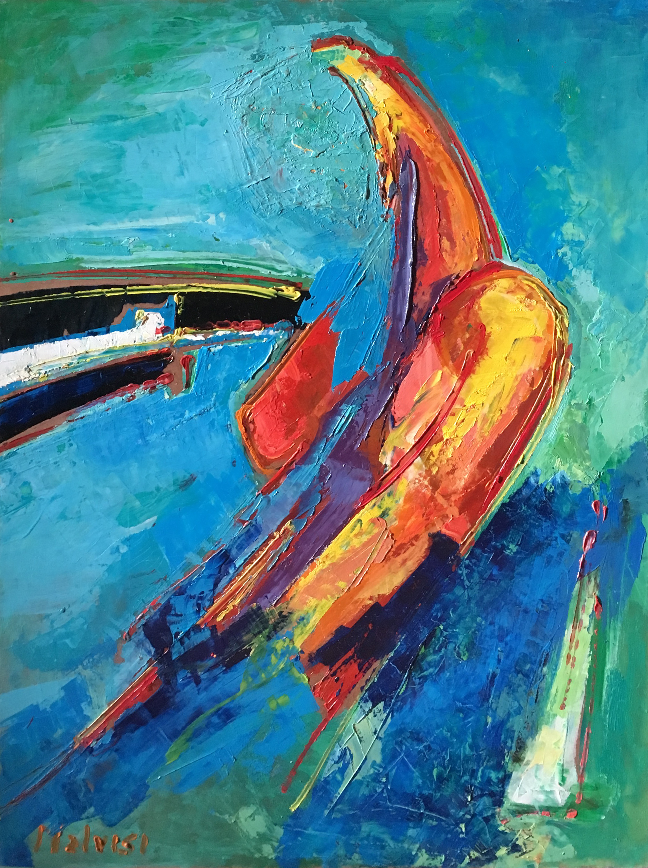 <b>Color is a God!</b><br> (Orig.Il colore e' un dio!) <br> Oil on wood <br> cm 60 x 80