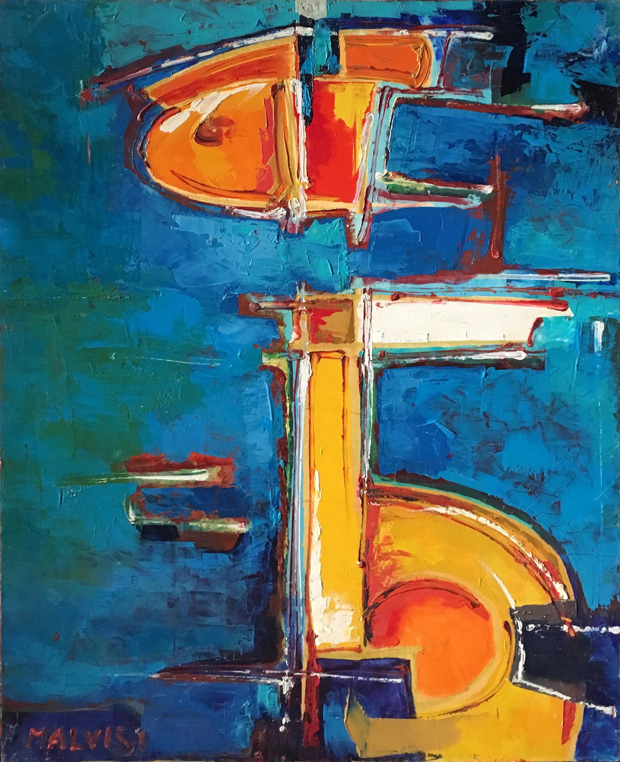 <b>The trascendent</b><br> (Orig.Il trascendente) <br> 1997 Oil on wood <br> cm 60 x 80
