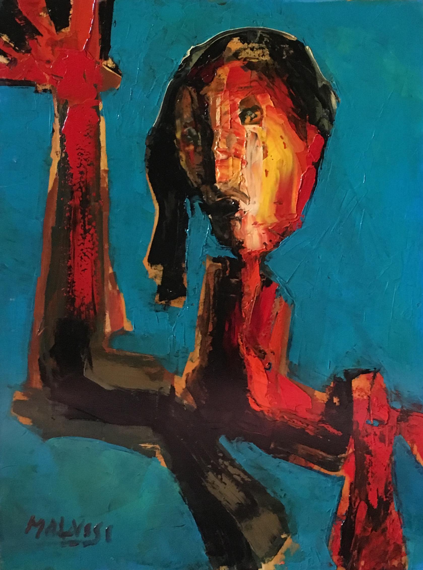 <b>The bosnian woman</b><br> (Orig. La signora bosniaca) <br> 1991 Oil on wood <br> cm 50 x 70
