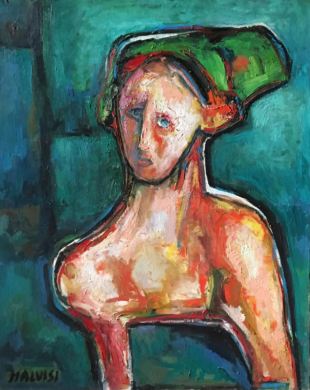 <b>The intimate face</b><br>(Orig. L'intimita' del volto) <br> 1998 Oil on canvas <br> cm 60 x 80