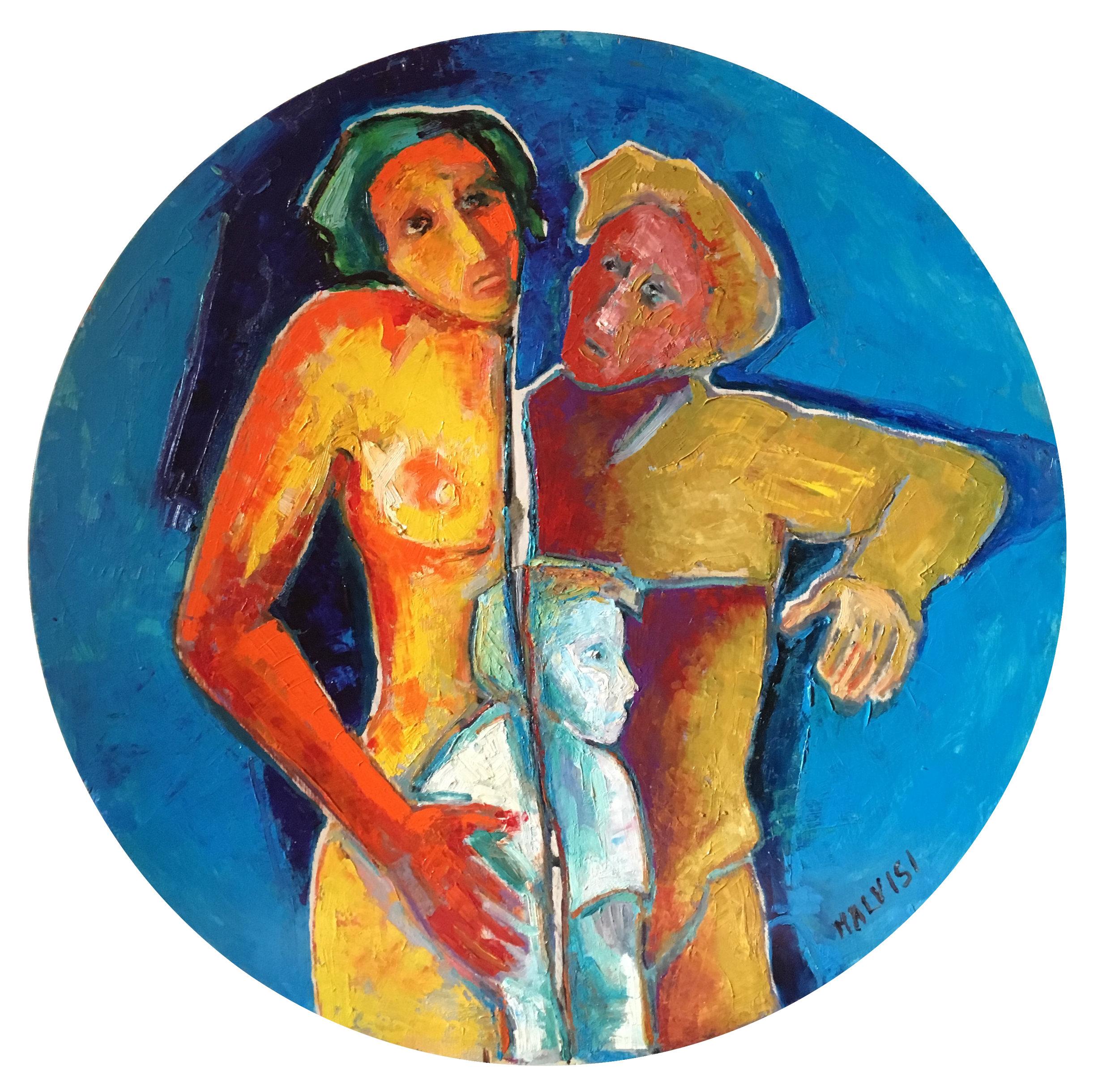<b>The cleavage</b><br> (Orig. La fenditura) <br> 1998 Oil on wood <br> diameter cm 100