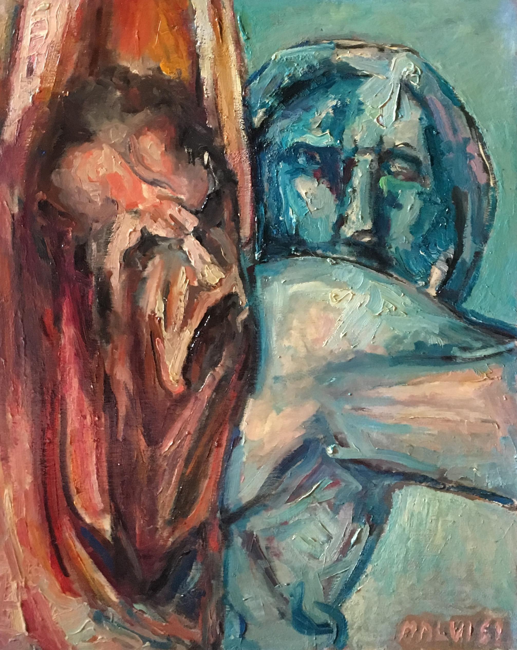 <b>Michelangelo</b><br> 2001 Oil on wood <br> cm 50 x 70