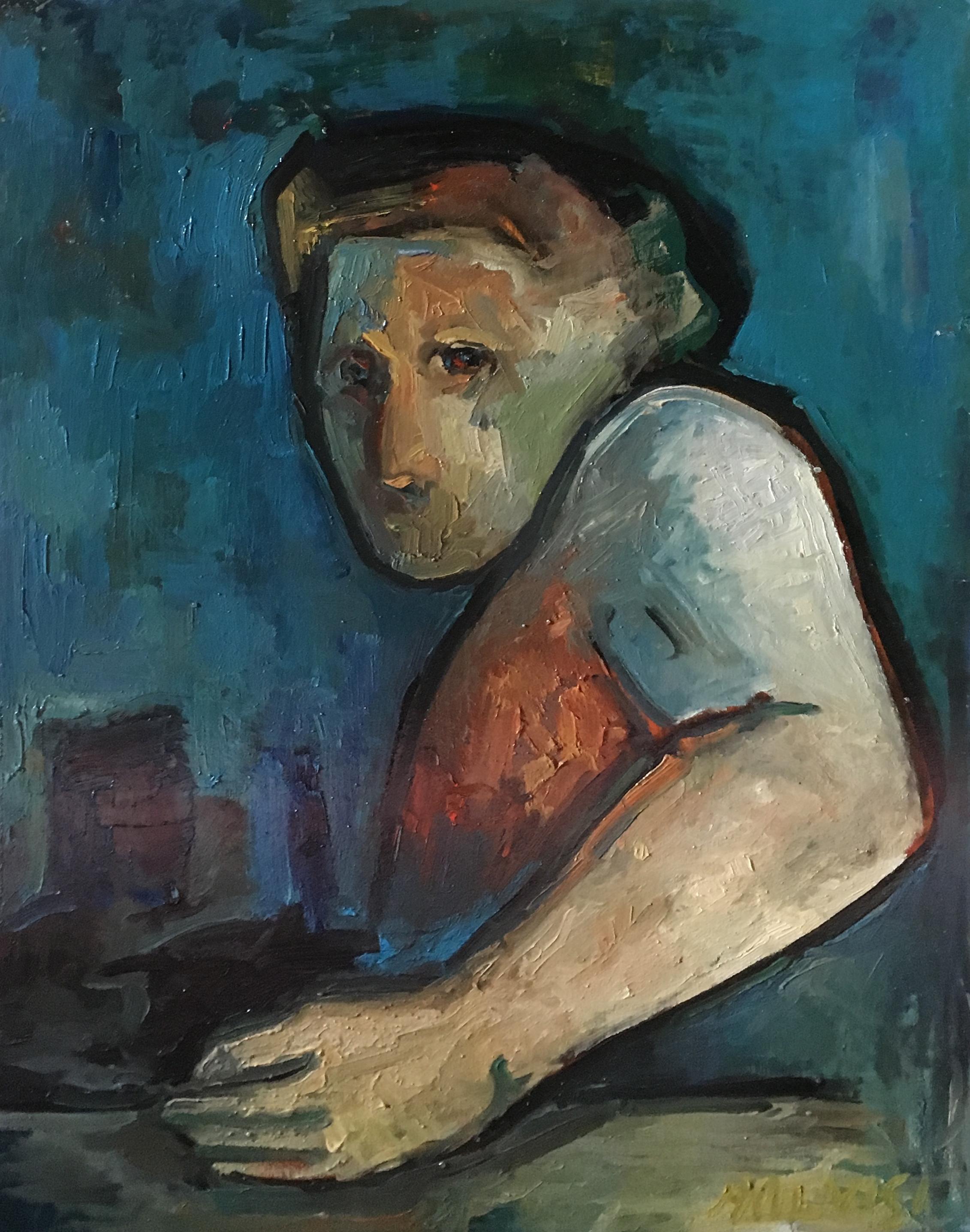 <b>Bust of man</b><br> (Orig.Busto d'uomo) <br> 2003 Oil on wood <br> cm 50 x 70
