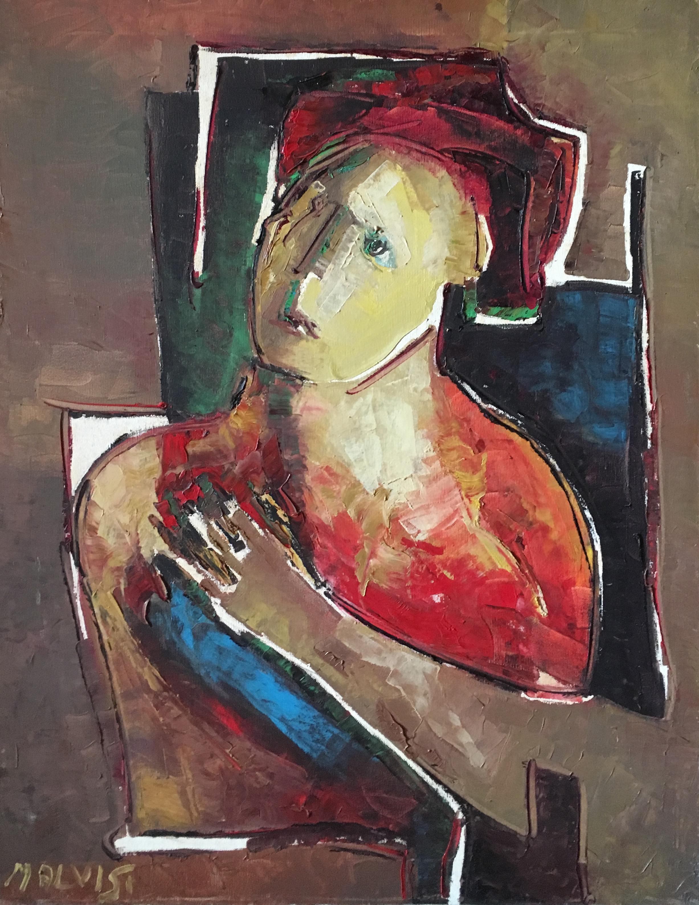 <b>Thoughtful man </b><br> (Orig. Uomo pensieroso)<br> 1979 Oil on canvas <br> cm 60 x 80