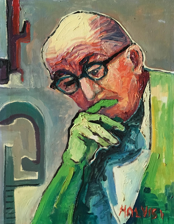 <b>Le Corbusier</b><br> 2004 Oil on wood <br> cm 60 x 80