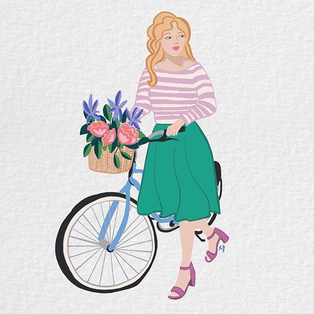 🚲🌷 . . . . . #florals #bike #bicycle #bikelife #travelgram #travelgirl #dametraveler #illustratedladies #illustratorsoninstagram #gouache #lancasterpa