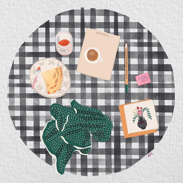 On the table #breakfast . . . . #gingham #onthetable #flatlay #tabletop #tablescape #brunch #coffee #coffeetime #pattern #printandpattern #handlettering #pursuepretty #watercolor #watercolour #gouache #illustratorsoninstagram #lancasterpa