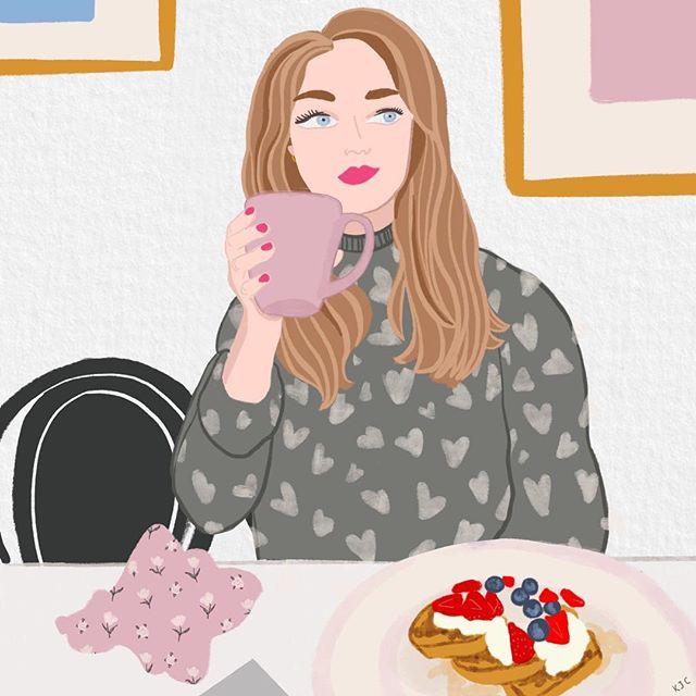 🍓#brunch . . . . . #illustratorsoninstagram #coffee #coffeetime #illustratedladies #printandpattern #pattern #sweatshirt #hangover #hangovercure #gouache #watercolor #watercolour #lancasterpa