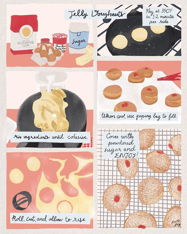 Another fun bootcamp assignment - step by steps! Here, I've adapted a #smittenkitchen recipe into illustration form. #cooking . . . . . #matsbootcamp #makeartthatsells #globaltalentsearch #globaltalentsearch2018 #illustration #theydrawandcook #illustratorsoninstagram #recipe #recipeillustration #jellydonut #watercolour #watercolor #gouache #doughnuts #lancasterpa