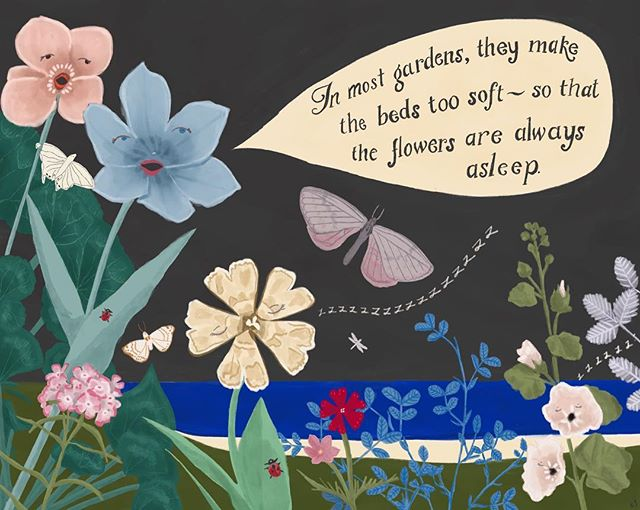 A little garden, inspired by #aliceandwonderland and all of the amazing #makeartthatsells #globaltalentsearch posts! . . . . #garden #gardening #childrensroom #childrensbooks #childrensillustration #childrensbookillustration #gouache #watercolor #watercolour #floral #watercolorflorals #handlettering #nightgarden #lancasterpa