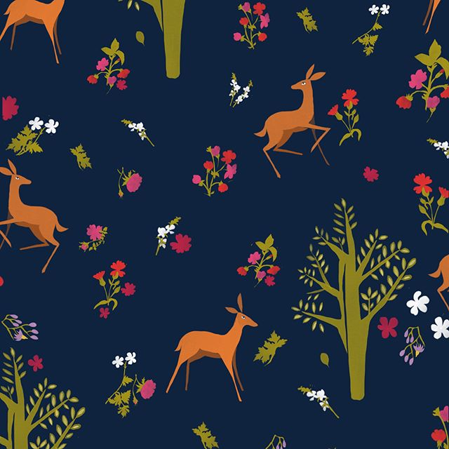 Hooray for pattern! #printandpattern . . . . . #pattern #print #textiledesign #textiles #illustration #illustratorsoninstagram #illustratorsoninstagram #deer #enchantedforest #forest #watercolor #watercolour #gouache #lancasterpa