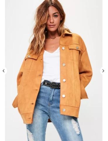 Tan oversized bonded suedette trucker jacket