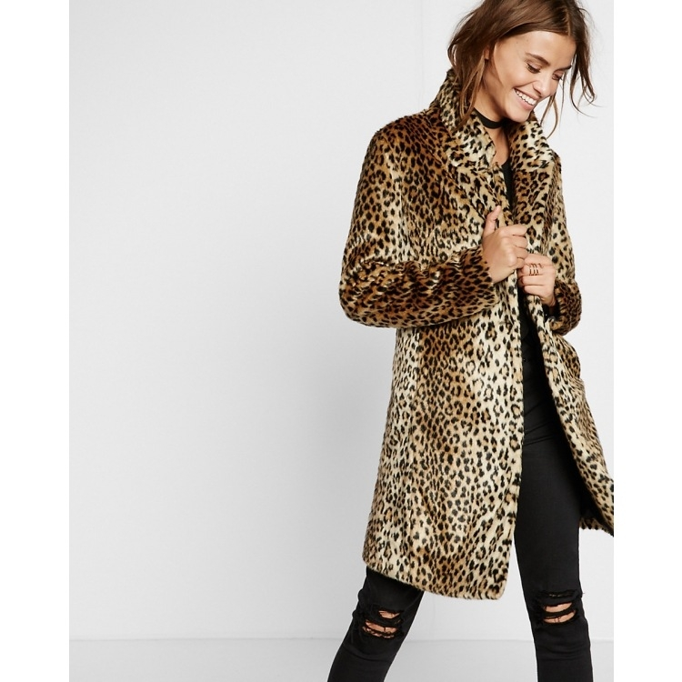 Women Faux Fur Coat Leopard Print Jacket Ladies Winter Warm Outwear Fashion
