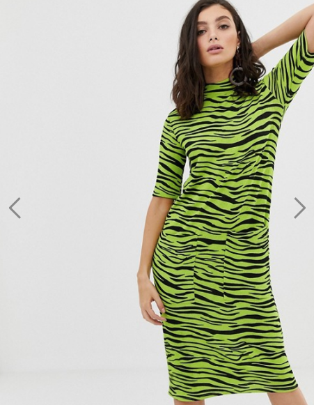 Stradivarius midi dress with pockets in zebra print