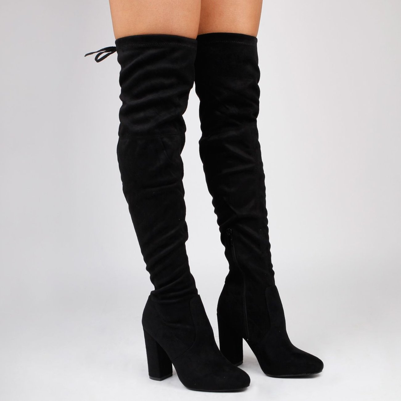 Ego Ivy Over The Knee Black Faux Suede Boots