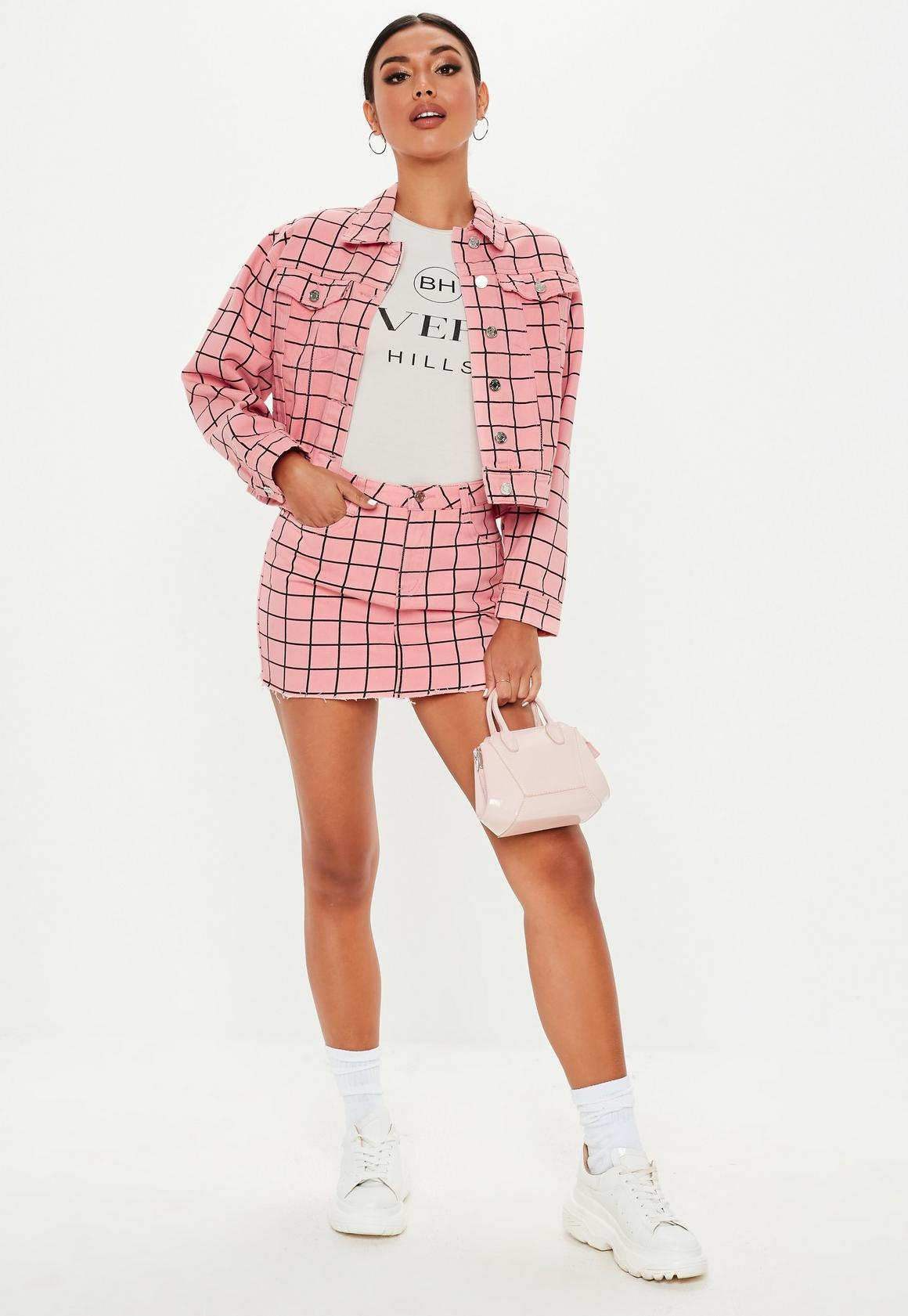 Missguided petite pink grid print denim co ord mini skirt