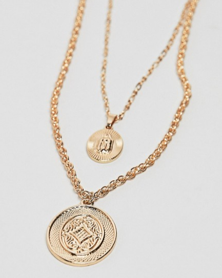 Reclaimed Vintage inspired double layer necklace with medallion pendants in gold exclusive at ASOS