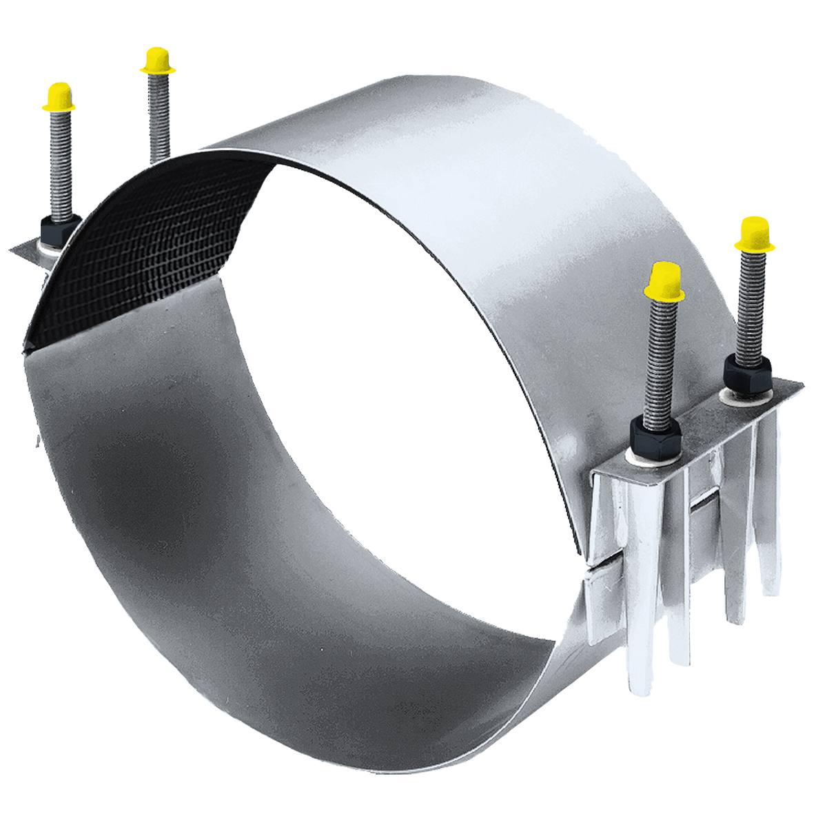 CC - Two-section stainless steel repair clamp.Nominal Sizes10 - 30 inchesWorking PressureUp to 150 psiPipe CompatibilitySteel, cast iron, plastic and asbestos cement pipe
