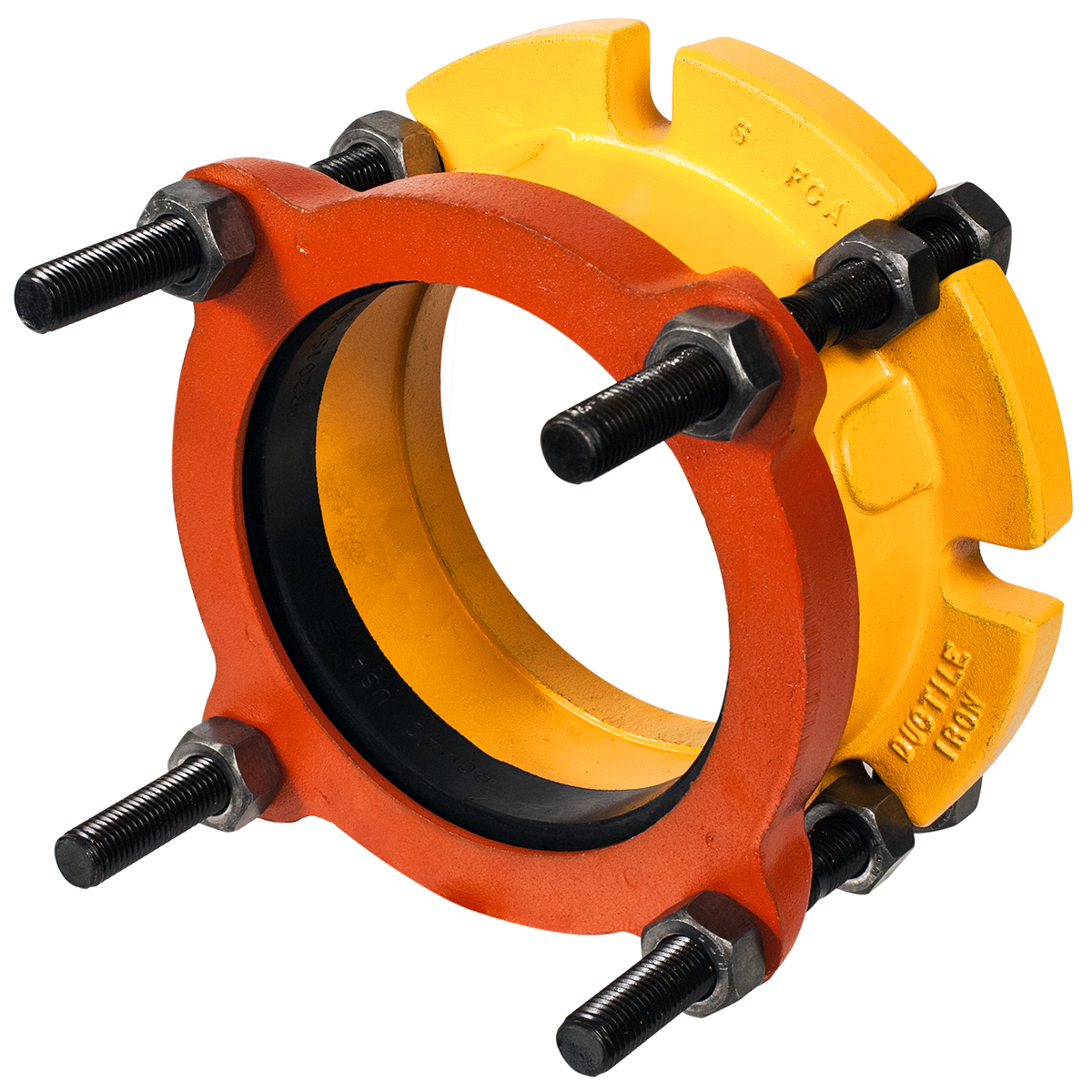 FCA501 - Ductile iron flange coupling adapter Connects plain-end pipe to a flange.Nominal Sizes3 - 16 inchesWorking PressureUp to 260 psiPipe CompatibilitySteel, cast iron, asbestos cement, plastic and other types of pipe